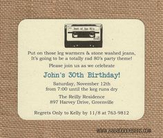 printable DIY 80s Cassette Tape Invitation by Wants and Wishes