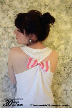 DIY tee-shirt noué  T-shirt with a bow on the back