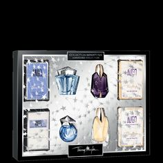 MUGLER Deluxe Coffret of Miniatures - For the MUGLER addict who craves variety, the Deluxe Coffret of Miniatures has it all. Complete with an assortment of ANGEL and ALIEN variations, this collection will inspire seduction and revive her radiance! Each miniature is accompanied by its own packaging, making it perfect for gift giving. Included in this coffret are a .17 fl. oz. Eau de Parfum Etoile Collection Deluxe Miniature, a .1 fl. oz. Eau de Toilette Comet Deluxe Miniature, a .2 fl…
