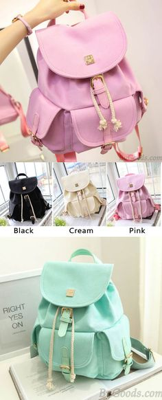 Very Sweet Candy Canvas College Rucksack Mint Green Pure Color Girls Backpack ! #backpack #green #bag #college #rucksack #school #canvas #mint