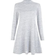Petite Grey Fine Knit Turtle Neck Swing Dress ($21) ❤ liked on Polyvore featuring dresses, clothes - dresses, petite, grey turtleneck, long sleeve dress, turtleneck top, long sleeve turtleneck dress and swing dress