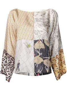 Multicolored print silk 'Julie' blouse from La Prestic Ouiston featuring a round neck, long sleeves, and patchwork print throughout. £510.32 by farfetch