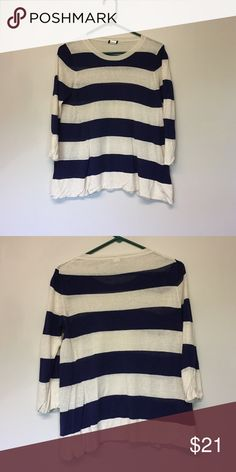J.Crew striped sweater Silk/linen j.crew striped sweater. Navy and