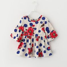 Find More Tees Information about 2016 New Cute Baby Girls Bell Sleeve Dots Ruffles Blouse Floral Print Spring Summer Casual Candy Color Girls Tops,High Quality candy pumps,China girls dress shoes black Suppliers, Cheap girls red velvet dress from Everweekend Clothing Co.,Ltd on Aliexpress.com