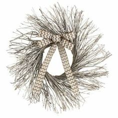 """Crafted from twigs and highlighted by a chevron-print ribbon, this charming wreath brings a natural touch to your front door or master suite wall.  Product: WreathConstruction Material: Twig and ribbonColor: BeigeDimensions: 22"""" Diameter x 4"""" D"""