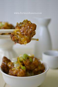 Substitute cauliflower in an orange chicken recipe...