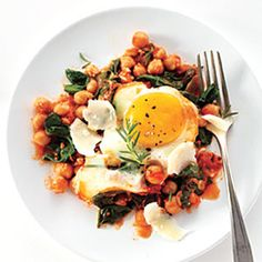 Eggs with Chickpeas, Spinach, and Tomato | MyRecipes.com #myplate #protein #vegetables