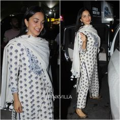 Kiara Advani looks beautiful as ever in a blue and white suit as she gets clicked at the airport. Love her airport look? Indian Attire, Indian Wear, Indian Outfits, Ethnic Outfits, Indian Dresses, Simple Kurta Designs, Kurta Designs Women, Blouse Designs, Blue And White Suit