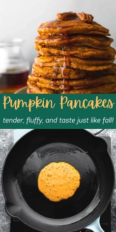 The best pumpkin pancakes recipe that is tender, fluffy, and tastes just like fall! With delicious pumpkin spice flavors from cinnamon, nutmeg, and ginger, these pancakes are naturally sweetened with maple syrup. #sweetpeasandsaffron #pumpkin #pancakes #fall #autumn #mealprep Best Breakfast Recipes, Brunch Recipes, Easy Dinner Recipes, Brunch Ideas, Snack Recipes, Pumpkin Pancakes, Pancakes And Waffles, Amazing Recipes, Yummy Recipes