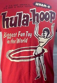 Wham-o Hula-Hoop Biggest Fun Toy T-Shirt Medium Red Vintage Advertising