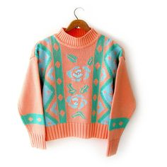 vintage novelty sweater vintage 1980s jumper tribal pattern w roses... ($28) ❤ liked on Polyvore featuring tops, sweaters, cropped turtleneck sweater, vintage sweater, tribal sweater, mock turtleneck and crop top