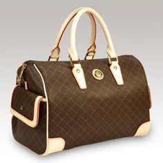 Signature Brown Large Boston Bag By Rioni