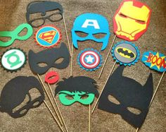 Super Hero Birthday Photo Booth Props by LetsGetDecorative on Etsy