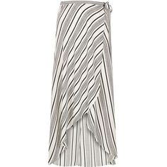 River Island White stripe maxi skirt ($70) ❤ liked on Polyvore featuring skirts, maxi skirts, white, women, white ruffle maxi skirt, long ruffle skirt, long wrap skirt, ruffle maxi skirt and tie-dye skirt