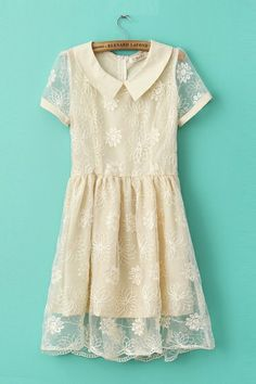 So Pretty! Lace Sunflower Embroidery Dress #lace #embroidery #fashion