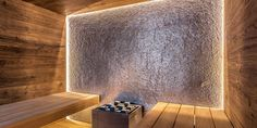 Design-Sauna im Alpenstil Sauna Steam Room, Sauna Room, Saunas, Spa Interior, Interior Design, Design Sauna, Sauna Lights, Piscina Spa, Front Door Design Wood