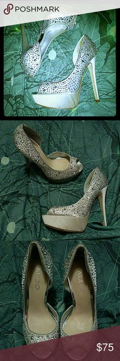 StUNning rhinestone Aldo sky high heels Sz 6 These bejeweled Aldo pumps are breathtaking. In excellent used condition, the sole, and heel, and insole are all in very good shape. No visible flaws. They sparkle and shine with every step. Size 6. Fair offers welcome. Aldo Shoes