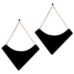 Fringe Benefit // geometric earrings //black