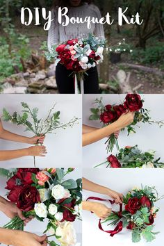 Fall/winter whimsical boho bouquet with dark red peonies or scarlet red velvet roses, peach, blush, cream and white roses with a touch of dusty greenery. Get the DIY kit in our store! Burgundy Bouquet, Red Rose Bouquet, Red Bouquet Wedding, Winter Wedding Flowers, Red Wedding, Bridal Brooch Bouquet, Diy Bouquet, Bride Bouquets, Burgendy Wedding