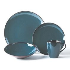 Sedona Blue from Mikasa.  Stoneware. Dishwasher and microwave safe. 4 piece place setting includes a 11-3/4 inch dinner plate, 8-3/4 inch salad plate, 8-1/2 inch soup bowl & 15 ounce mug.
