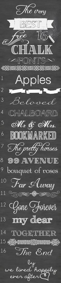 The Very Best 16 Free Chalk Fonts- LOVE THESE! #freefonts