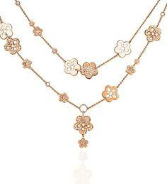 Blossom Motif Long Rose Gold Diamond Necklace