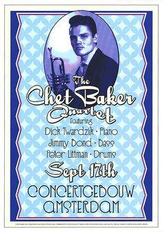 The Chet Baker Quartet Amsterdam 1955 Concert Poster Reproduction - Quality Framed Print 17 x 24 Amsterdam, Jazz Poster, Print Poster, Chet Baker, Concert Posters, Music Posters, Original Movie Posters, Framed Prints, Art Prints