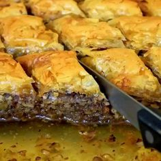 Baklava (Walnut and Honey Pastry) Greek Sweets, Greek Desserts, Greek Recipes, Food Network Recipes, Cooking Recipes, Greek Pastries, The Kitchen Food Network, Food Porn, Food Gallery