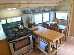 Travel Trailer Converting Into Tiny House With Wall Bed And Very Comfortable All Zones Cheap Tiny House, Tiny House On Wheels, House Slide, Cozy Bathroom, Small Trailer, Big Sofas, Retro Campers, Small Loft, Big Kitchen