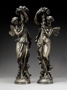 Mathurin Moreau - A PAIR OF WINGED MAIDENS...