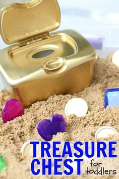 DIY Treasure Chest for Toddlers: Such a fun sensory activity for toddlers that promotes fine motor control and hand-eye coordination! #toddlerscience