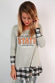 Oklahoma State University Plaid Tunic