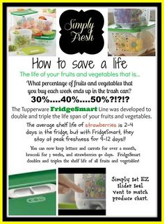 Tupperware FridgeSmart - How to save a life of fruits and veggies www.beckyfrench71.my.tupperware.com