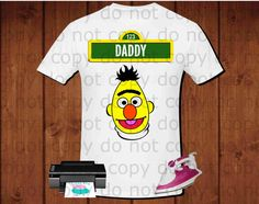 Daddy, Sesame Street Bert inspired party shirt for iron transfer, printable file instant download, high definition 300dpi