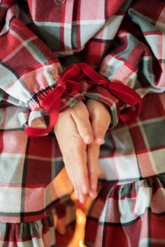 Girls Flannel Buffalo Plaid Nightgown, Red and Gray Buffalo Plaid Long Sleeve Nightgown, Long sleeve nightgown Pajamas, Christmas pajamas