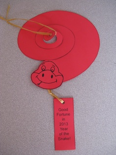 Fun Spiral Snake Craft Project for the Year of the Snake.  Craft and language activity.