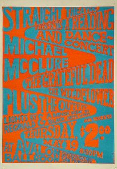 Michael McClure Poster - Rock posters, concert posters, and vintage posters from the Fillmore, Fillmore East, Winterland, Grande Ballroom, Armadillo World Headquarters, The Ark, The Bank, Kaleidoscope Club, Shrine Auditorium and Avalon Ballroom.