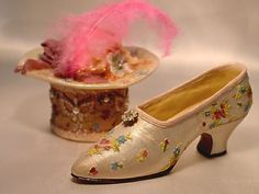 If The Shoe Fits Faux Pearl Miniature Crystal Shoe and Hat Box
