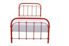 Łóżko metalowe Babuni czerwone vintage