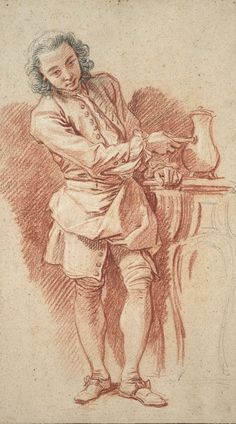 François Boucher  French, 1703-1770, Study of Valet with Coffee Pot