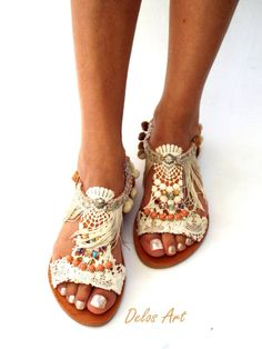 IMPORTANT: Please include a phone number at checkout, as its required by the carrier FANTASTIC NEWS!!!! WE ARE VERY HAPPY BECAUSE WE OFFER FREE SHIPPING WORLDWIDE 1-4 DAYS with our new cooperation with DHL!!! All my sandals are handmade to order and need 10 days to be made. Boho chic leather sandals in extraordinary desigh. With handsewn cotton lace, silk fringes and beautiful stones. A very special pair of sandals and an excellent choice for alternative bohemian weddings. Handmade from 1...