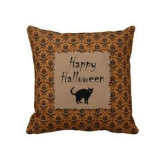 Happy Halloween Damask With Black Cat Throw Pillow