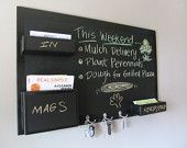 """Chalkboard Mail Organizer Large wall mounted pockets with key hooks. $220.00, via Etsy.Organize your household mail and keys with this simple sturdy wooden board with deep pockets to hold plenty of mail and multiple hooks for keys. The entire board and pockets are painted in chalkboard paint, so that you can customize it.     Large mail station comes with 4 double key hooks, 1 large pocket and 4 mail pockets. 46""""w x 28""""h,Lge pocket 11""""x8""""x3.75"""",m pocket 11""""x3""""x3.75"""""""