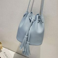 Vintage Tassel Crossbody Bucket Bag Luxury Woman Bag Female Shoulder Handbags  Drawstring Messenger Crossbody Bags Sac Main - Blue
