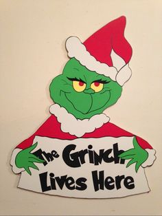 Grinch with sign christmas yard art decoration Grinch Christmas Party, Christmas Yard Art, Grinch Party, Christmas Wood Crafts, Christmas Signs, Christmas Pictures, Christmas Projects, Christmas Holidays, Pallet Christmas