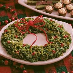 Holiday Wreath Recipe. My mom gave me this recipe. I look forward to crafting and sharing the wreath every Christmas. It's crisp and chewy, and a real eye-catcher on the table.