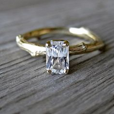 Radiant Cut White Sapphire Twig Ring in Recycled Gold as an expensive engagement ring alternative by Kristin Coffin on Etsy #unique #creative
