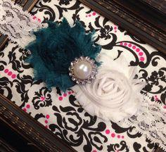 Teal White Shabby Flower Headband for newborn baby infant toddler girl on Etsy, $6.99