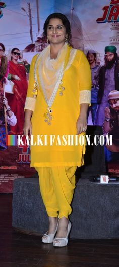 Vidya Balan picked a Nikasha yellow suit to attend the blog launch of Bobby Jasoos. http://www.kalkifashion.com/