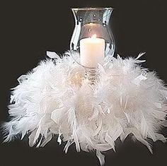 Feather and Floral Centerpieces - Atlanta and Destination - ellyB Events Wedding & Party Planners Ostrich Feather Centerpieces, Non Floral Centerpieces, Candle Wedding Centerpieces, Wedding Decorations, Feather Boas, Christmas Centerpieces, Feather Decorations, Hurricane Centerpiece, Hurricane Party